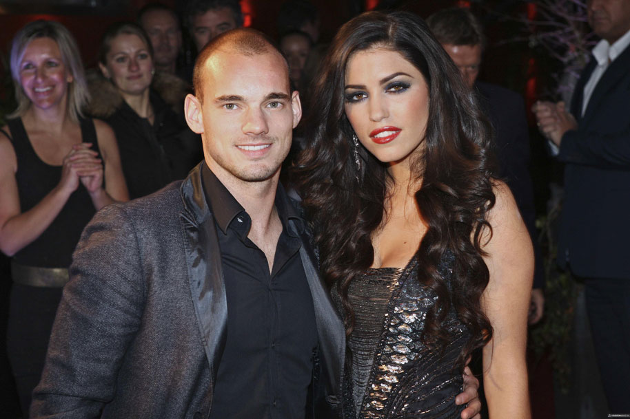 Wesley Sneijder and his wife